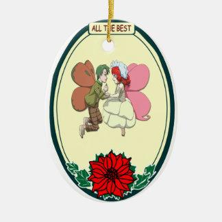Ornamento romántico - par de hadas adorno navideño ovalado de cerámica