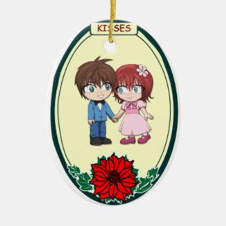 Ornamento romántico - pares lindos adorno navideño ovalado de cerámica
