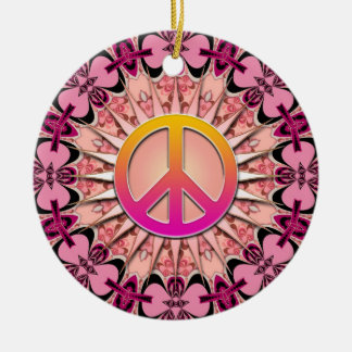 Ornamento rosado de la paz del recuerdo de la ornamente de reyes