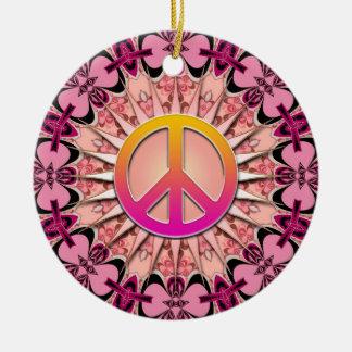 Ornamento rosado de la paz del recuerdo de la mand ornamente de reyes
