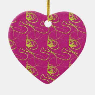 Ornamento rosado del corazón adorno navideño de cerámica en forma de corazón