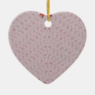 Ornamento rosado del corazón del ganchillo adorno de cerámica en forma de corazón