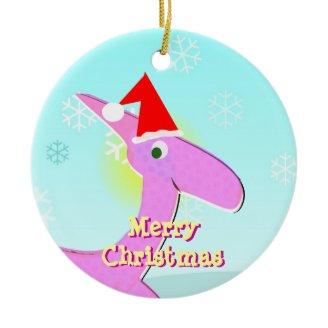 Ornamento rosado del dinosaurio del dibujo animado adornos de navidad