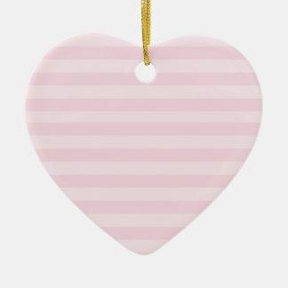 Ornamento rosado del modelo rayado adorno navideño de cerámica en forma de corazón