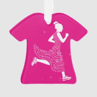 Ornamento rosado del navidad de la camiseta del
