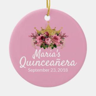 Ornamento rosado del recuerdo de Quinceañera