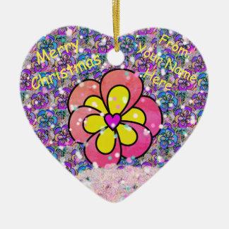 Ornamento rosado modificado para requisitos adorno navideño de cerámica en forma de corazón