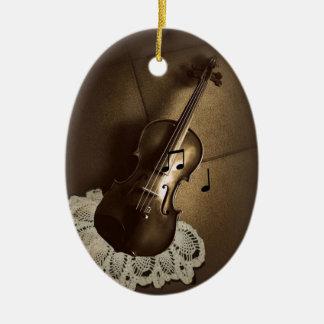 Ornamento rústico del violín adorno ovalado de cerámica