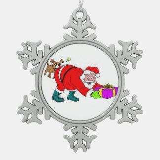 Ornamento/Santa del copo de nieve del estaño Adorno De Peltre En Forma De Copo De Nieve