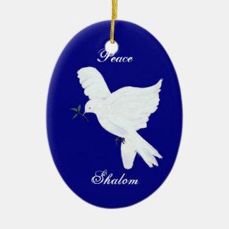 Ornamento Shalom-Blanco de la paloma de la paz Adorno Navideño Ovalado De Cerámica