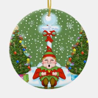 Ornamento soñoliento del navidad del duende