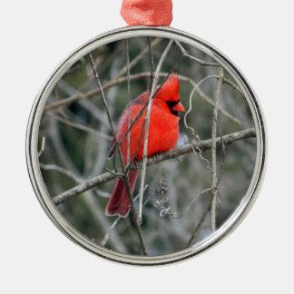 Ornamento superior cardinal rojo real adorno navideño redondo de metal