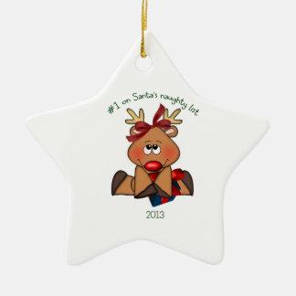 Ornamento travieso del reno del navidad 2013 adorno navideño de cerámica en forma de estrella