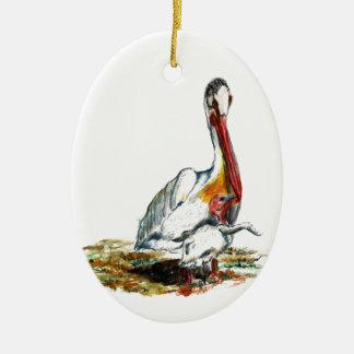 Ornamento - un pelícano y un polluelo, lápiz de la ornamentos para reyes magos