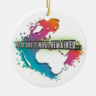 Ornamento único del círculo del Día de la Tierra Adorno Navideño Redondo De Cerámica