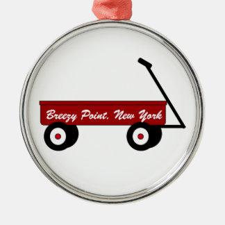 Ornamento ventoso del carro del punto adorno navideño redondo de metal