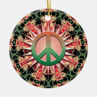 Ornamento verde coralino de la paz del recuerdo de ornamentos de navidad
