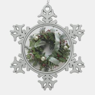 ornamento verde del copo de nieve de la guirnalda  adorno