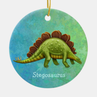 Ornamento verde del dinosaurio del Stegosaurus Adorno Navideño Redondo De Cerámica