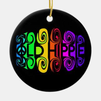Ornamento VIEJO del HIPPIE, personalizar Adorno Redondo De Cerámica