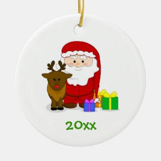 Ornamento w/Rudolph de la lista de Santa