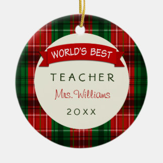 Ornamentos 2016 del regalo de la tela escocesa del adorno navideño redondo de cerámica
