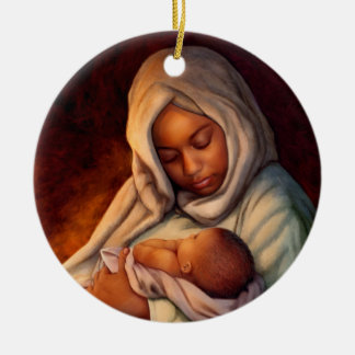 Ornamentos afroamericanos del navidad del arte de adorno navideño redondo de cerámica
