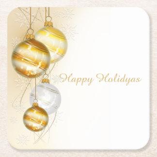 Ornamentos blancos de la bola del oro del navidad posavasos cuadrado de papel