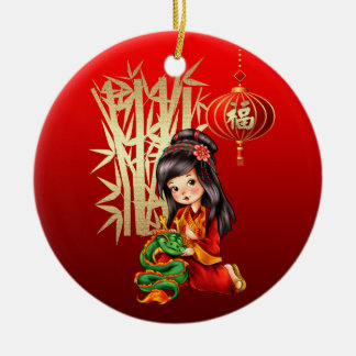 Ornamentos chinos del regalo del Año Nuevo Adorno Navideño Redondo De Cerámica