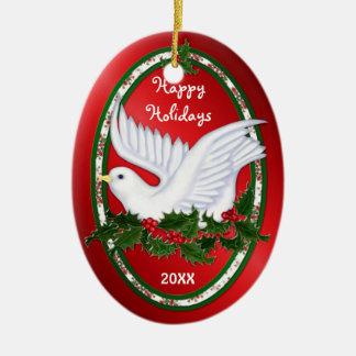 Ornamentos de la paloma y del acebo adorno navideño ovalado de cerámica