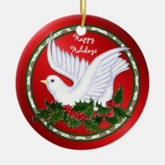 Ornamentos de la paloma y del acebo adorno navideño redondo de cerámica