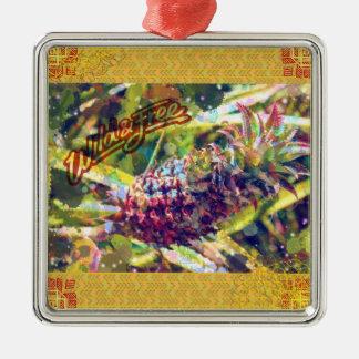 Ornamentos de la piña adorno navideño cuadrado de metal