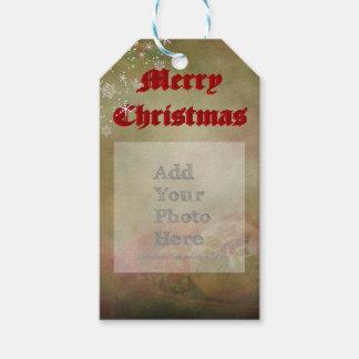Ornamentos de las Felices Navidad en los copos de Etiquetas Para Regalos