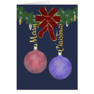 Ornamentos de las Felices Navidad Tarjeta De Felicitación