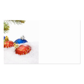 Ornamentos del árbol de navidad en nieve tarjetas de visita