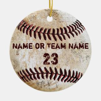 Ornamentos del béisbol del vintage con NOMBRE y