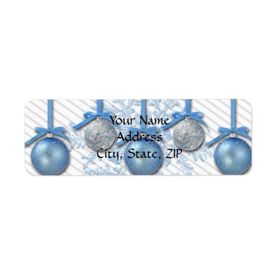 Ornamentos del brillo del azul y de la plata etiqueta de remite