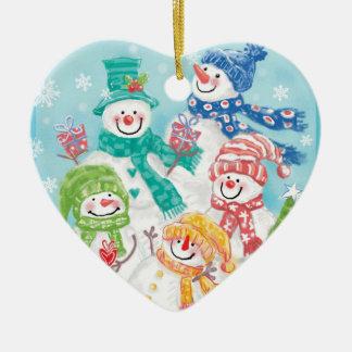 Ornamentos del navidad de la familia del muñeco de