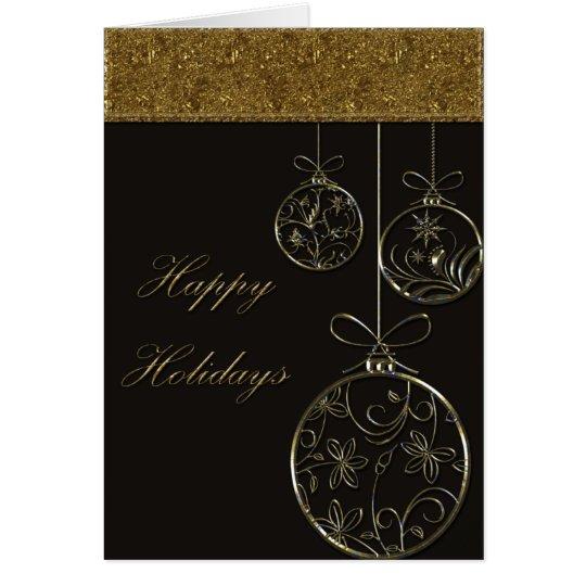 Ornamentos del navidad del chocolate y del oro tarjeta de felicitación