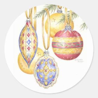 Ornamentos del vintage de los pegatinas del pegatina redonda