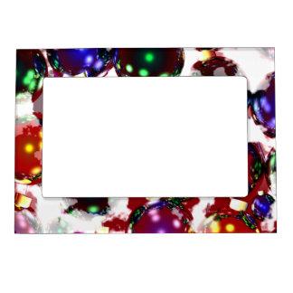 Ornamentos escarchados del navidad marcos magneticos para fotos