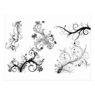 Ornamentos florales decorativos postales