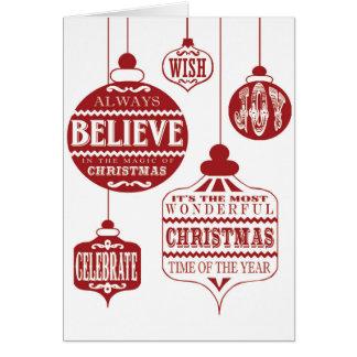 ornamentos modernos del navidad del vintage tarjeta de felicitación