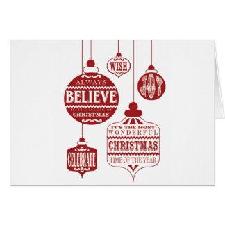 ornamentos modernos del navidad del vintage tarjeta pequeña