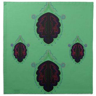 Ornamentos negros verdes del vintage servilleta de tela