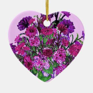 Ornamentos púrpuras bonitos suaves femeninos de adorno de cerámica en forma de corazón