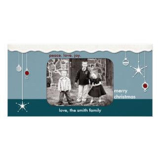 Ornamentos y navidad de la nieve que saluda tarjeta personal