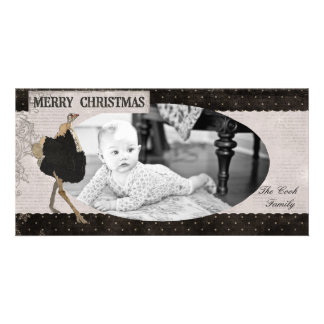 Ornate Ostrich Black & White Christmas Photo Card
