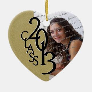 Oro 2013 de la foto de la graduación de la clase adorno navideño de cerámica en forma de corazón