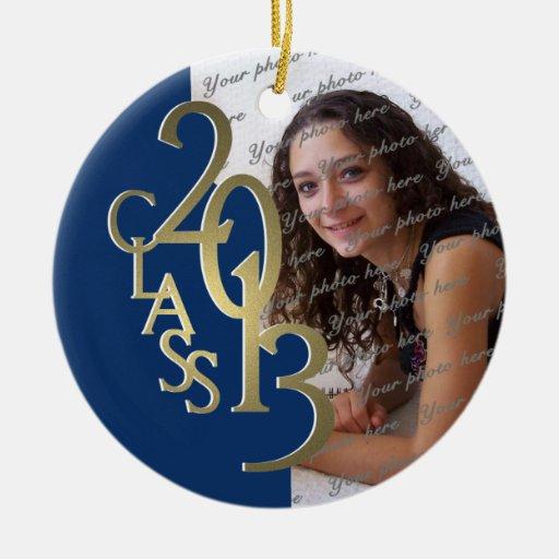 Oro 2013 y azul de la foto de la graduación de la  ornamento para arbol de navidad